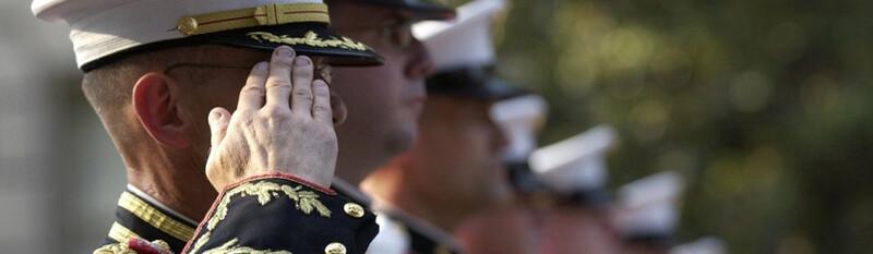 members of military saluting