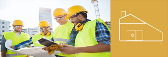 construction workers and yellow building icon
