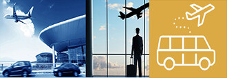 man in airport watching plane with park and fly icon