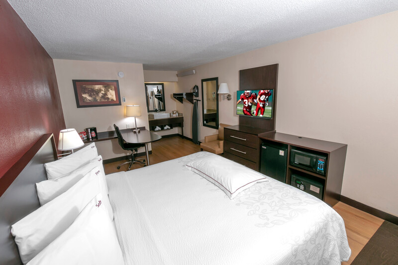 premium hotel room with king bed