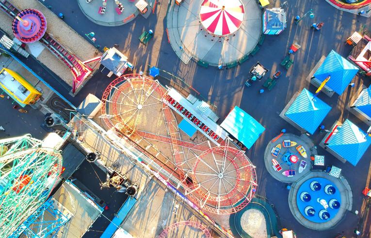 overhead view of amusement park