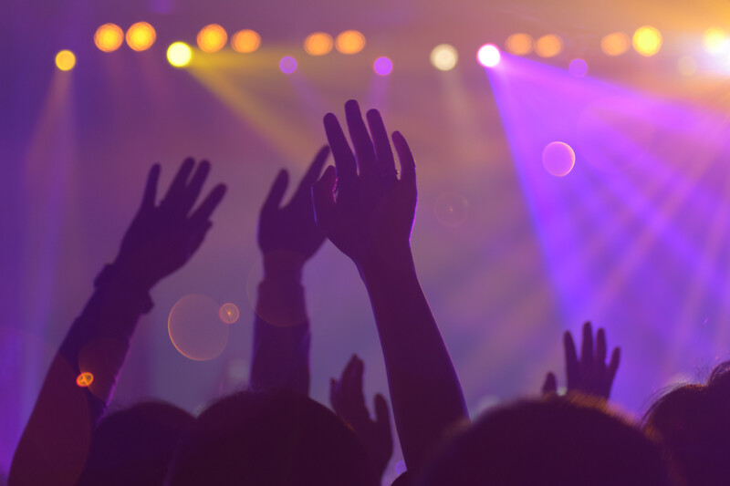 Hands up in the air at a concert image