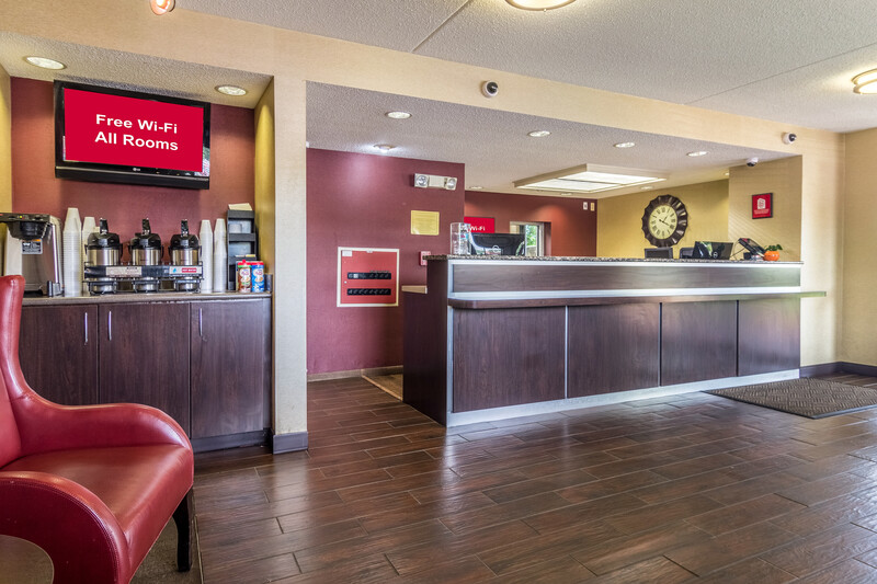 lobby image with coffee and the front desk