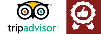tripadvisor logo next to red icon of thumbs up