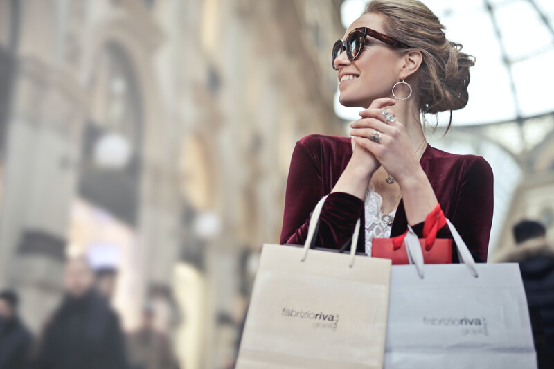 shopping bags in hand