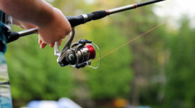 closeup of person fishing